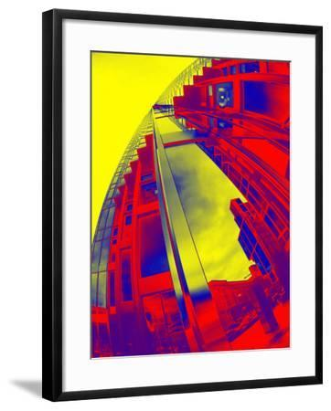 Red and Yellow View of Skyscrapers from Street--Framed Photographic Print
