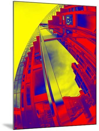 Red and Yellow View of Skyscrapers from Street--Mounted Photographic Print