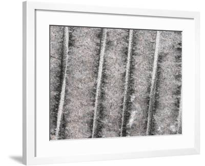 Cement Wall Textured Background with Etched Vertical Lines--Framed Photographic Print