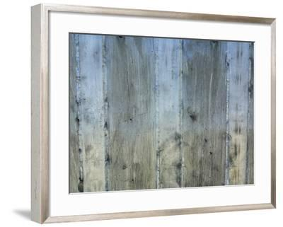 Close-Up of Background of Weathered Steel with Lines--Framed Photographic Print