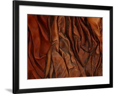 Close-Up of Wrinkled Brown Leather--Framed Photographic Print