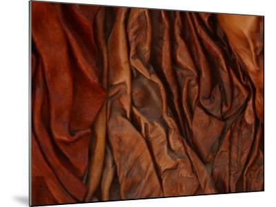 Close-Up of Wrinkled Brown Leather--Mounted Photographic Print