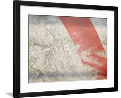 Red Stripe across Abstract Splash Pattern in Gray--Framed Photographic Print