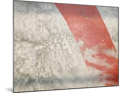 Red Stripe across Abstract Splash Pattern in Gray--Mounted Photographic Print