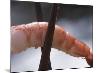 Close-Up of Chopsticks Holding a Piece of Fresh Shrimp--Mounted Photographic Print