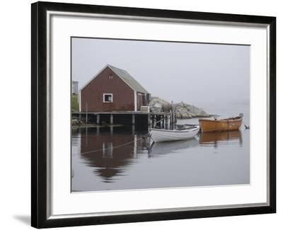 Rowboats Moored at Dock in Fishing Village Inlet, Maritimes, Canada--Framed Photographic Print