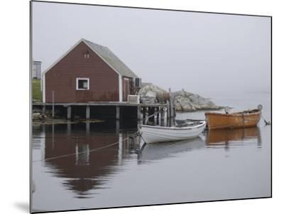 Rowboats Moored at Dock in Fishing Village Inlet, Maritimes, Canada--Mounted Photographic Print