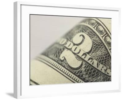 Close-Up of Number and Text on Two Dollar Bill--Framed Photographic Print