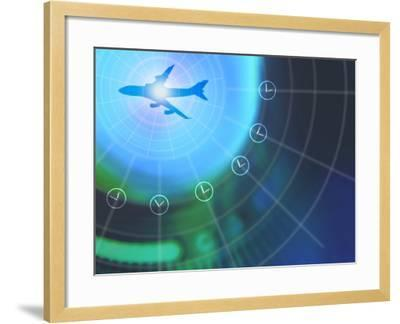 Airplane on Grid of Times Zones--Framed Photographic Print