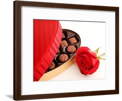 Studio Shot of Box of Romantic Chocolates and Red Rose--Framed Photographic Print
