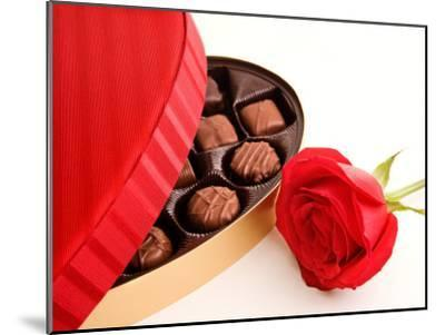 Studio Shot of Box of Romantic Chocolates and Red Rose--Mounted Photographic Print