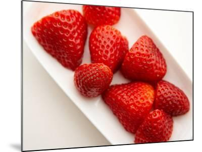 Delicious Fresh Strawberries in Dish--Mounted Photographic Print