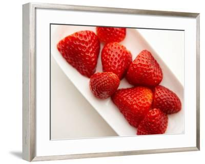 Delicious Fresh Strawberries in Dish--Framed Photographic Print