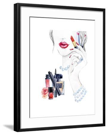 Woman Portrait with Lipstick-tanycya-Framed Art Print