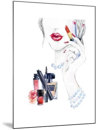 Woman Portrait with Lipstick-tanycya-Mounted Art Print