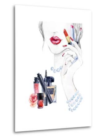 Woman Portrait with Lipstick-tanycya-Metal Print