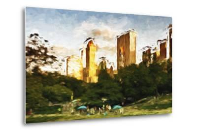 Central Park Sunset IV - In the Style of Oil Painting-Philippe Hugonnard-Metal Print
