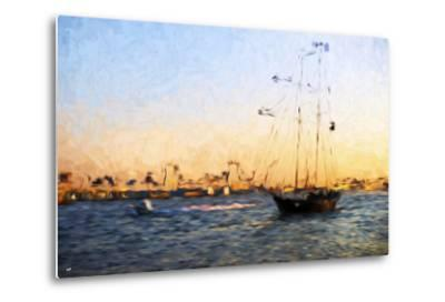 Sunset Yacht - In the Style of Oil Painting-Philippe Hugonnard-Metal Print