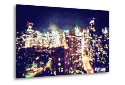 Manhattan Night VI - In the Style of Oil Painting-Philippe Hugonnard-Metal Print