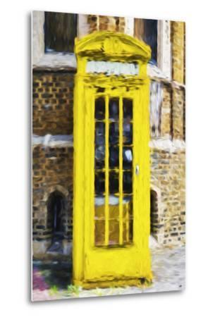 Yellow Phone Booth - In the Style of Oil Painting-Philippe Hugonnard-Metal Print