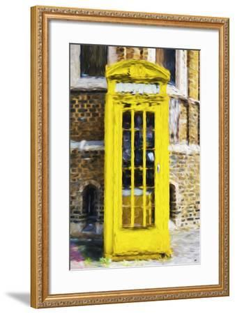 Yellow Phone Booth - In the Style of Oil Painting-Philippe Hugonnard-Framed Giclee Print
