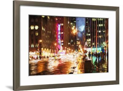 Manhattan Night II - In the Style of Oil Painting-Philippe Hugonnard-Framed Giclee Print