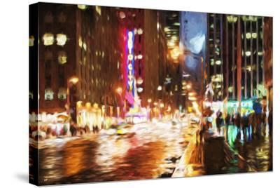 Manhattan Night II - In the Style of Oil Painting-Philippe Hugonnard-Stretched Canvas Print