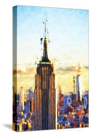 Empire State Sunset - In the Style of Oil Painting-Philippe Hugonnard-Stretched Canvas Print