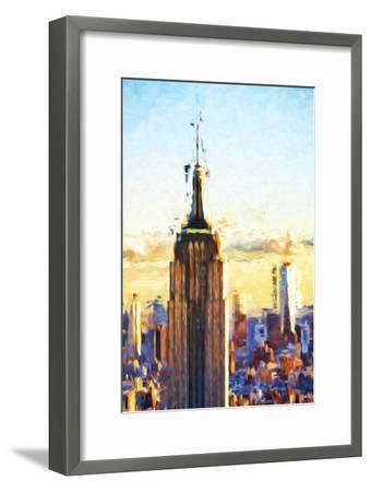 Empire State Sunset - In the Style of Oil Painting-Philippe Hugonnard-Framed Giclee Print