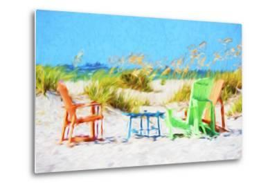 Beach Chairs - In the Style of Oil Painting-Philippe Hugonnard-Metal Print