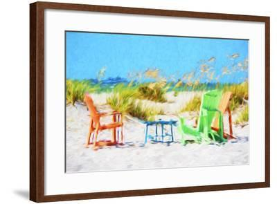Beach Chairs - In the Style of Oil Painting-Philippe Hugonnard-Framed Giclee Print