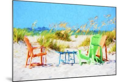 Beach Chairs - In the Style of Oil Painting-Philippe Hugonnard-Mounted Giclee Print
