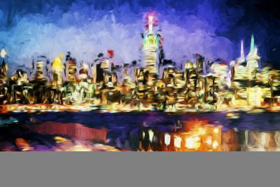 NY City Night I - In the Style of Oil Painting-Philippe Hugonnard-Framed Giclee Print