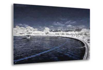 Blue Fountain - In the Style of Oil Painting-Philippe Hugonnard-Metal Print