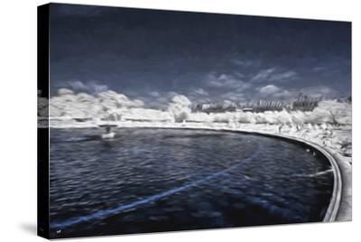 Blue Fountain - In the Style of Oil Painting-Philippe Hugonnard-Stretched Canvas Print