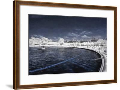 Blue Fountain - In the Style of Oil Painting-Philippe Hugonnard-Framed Giclee Print