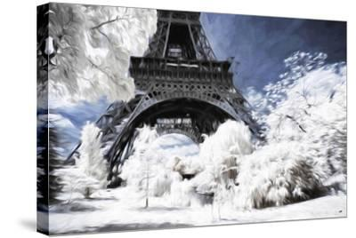 Paris under the snow - In the Style of Oil Painting-Philippe Hugonnard-Stretched Canvas Print