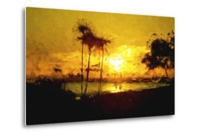 Yellow Beach - In the Style of Oil Painting-Philippe Hugonnard-Metal Print