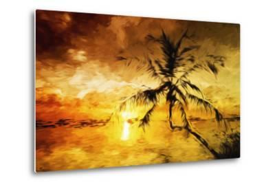Sunset Palm I - In the Style of Oil Painting-Philippe Hugonnard-Metal Print