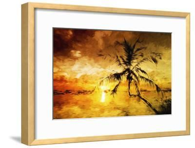 Sunset Palm I - In the Style of Oil Painting-Philippe Hugonnard-Framed Giclee Print