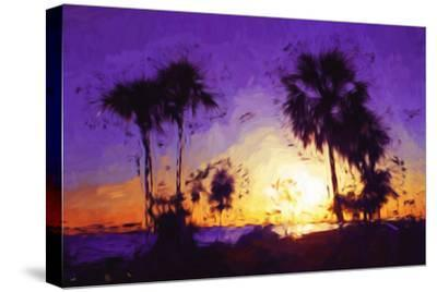 Purple Sunset - In the Style of Oil Painting-Philippe Hugonnard-Stretched Canvas Print