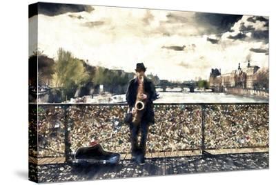 Saxophonist Paris-Philippe Hugonnard-Stretched Canvas Print