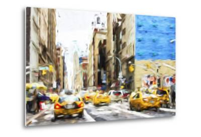 NYC Taxis - In the Style of Oil Painting-Philippe Hugonnard-Metal Print