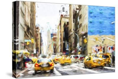 NYC Taxis - In the Style of Oil Painting-Philippe Hugonnard-Stretched Canvas Print