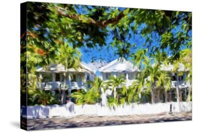 Kew West Cottages - In the Style of Oil Painting-Philippe Hugonnard-Stretched Canvas Print
