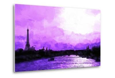 Paris Eiffel Pink Sunset-Philippe Hugonnard-Metal Print