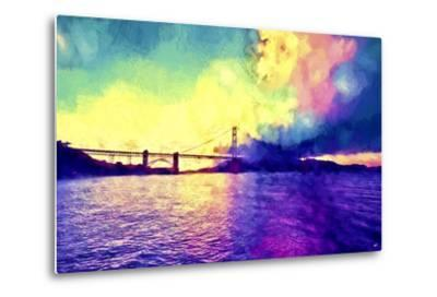 Watercolor Golden Gate Bridge-Philippe Hugonnard-Metal Print