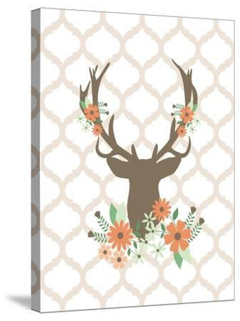 Deer Flowers 1-Tamara Robinson-Stretched Canvas Print
