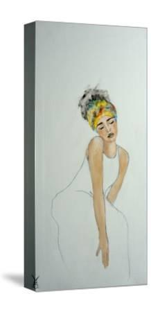 African Woman with Colourful Headdress (2) 2016-Susan Adams-Stretched Canvas Print
