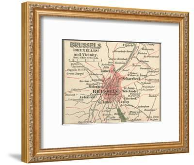 Map of Brussels (C. 1900), Maps-Encyclopaedia Britannica-Framed Giclee Print